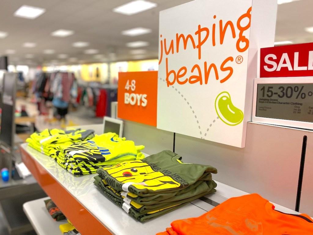 jumping beans sign at kohls store