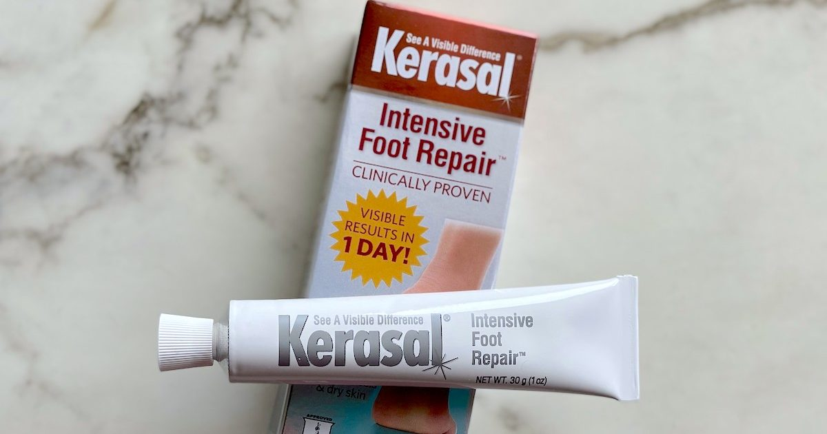 kerasal foot cream with box sitting on marble countertop