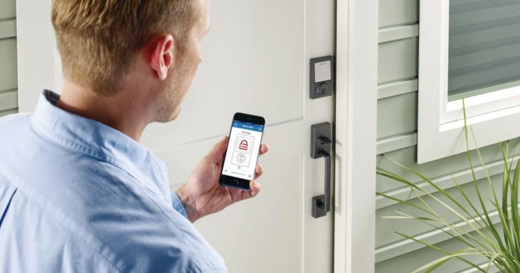 keyless smart lock man opening door