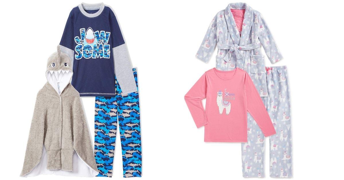 kids robe and pajama 3-piece sets