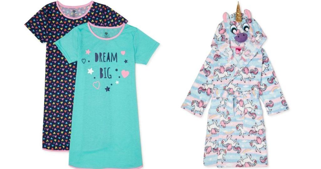 kids night shirts and unicorn robe