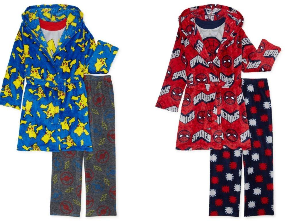 Pokémon and Spiderman robe and pajama set