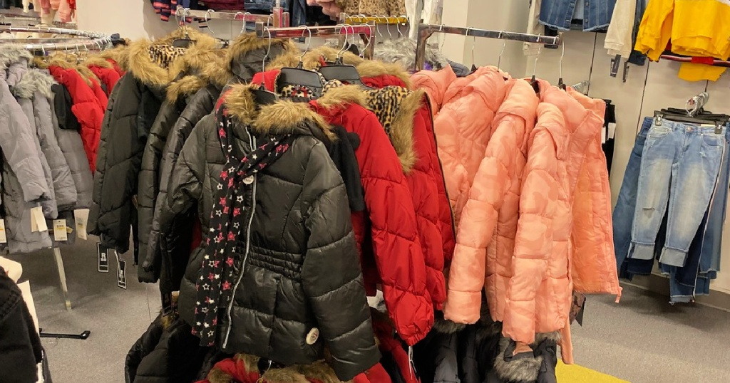 kids puffer jackets on rack at macy's