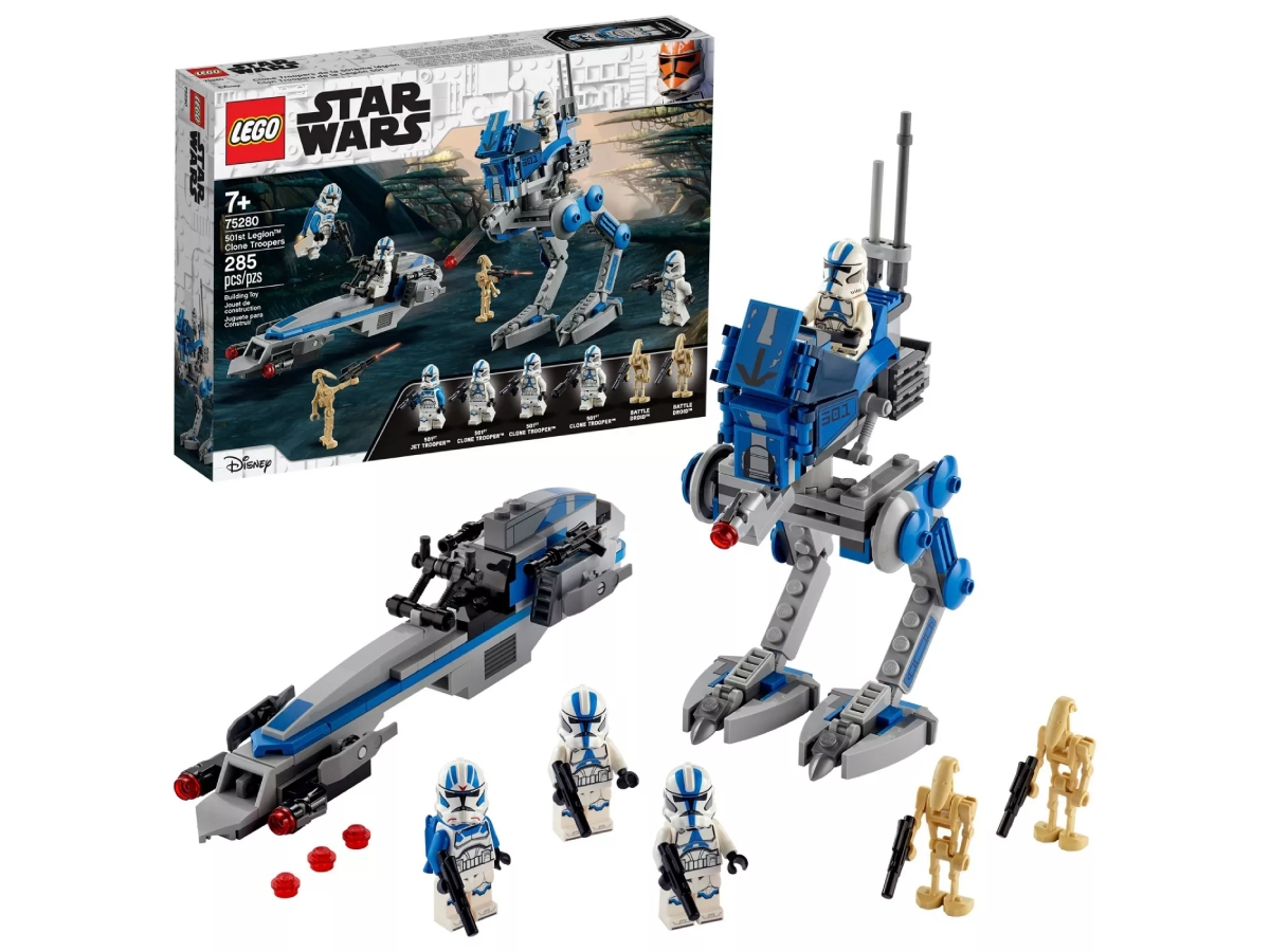 stock image of a lego set box and pieces assembled