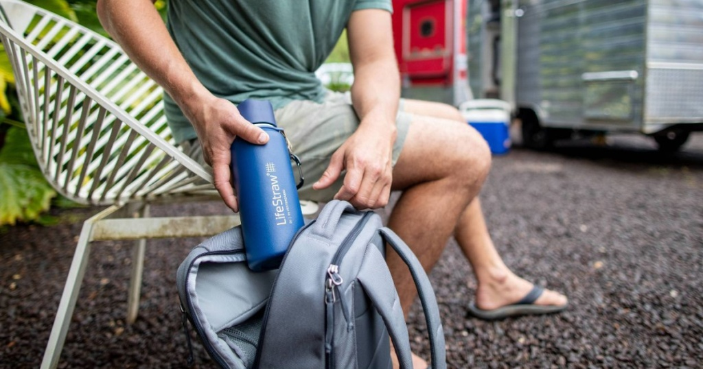 lifestraw stainless steel water bottle in backpack