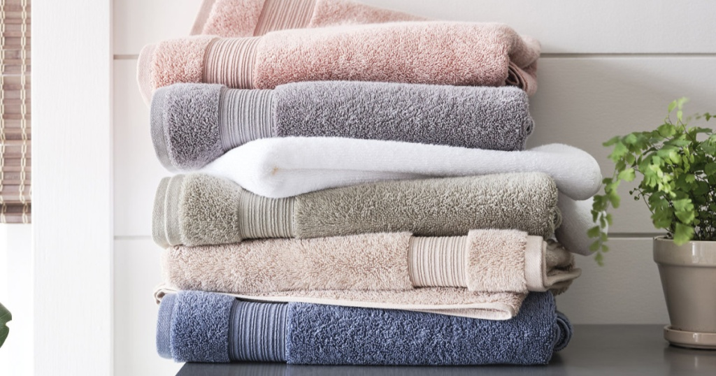 linden organic towels stacked