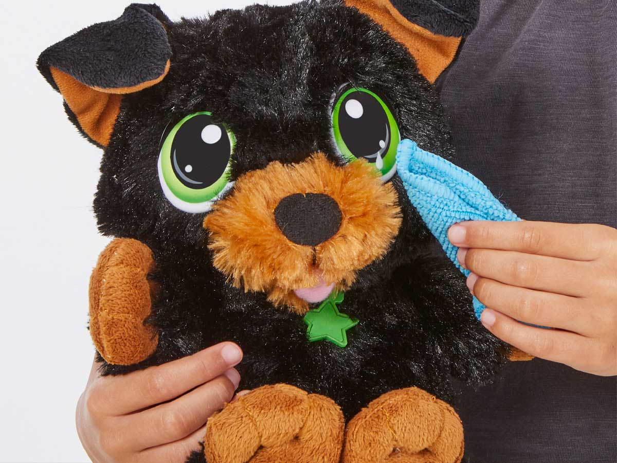 little kid playing with yorkie dog plush