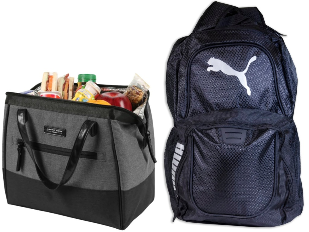lunch bag and puma backpack from office depot