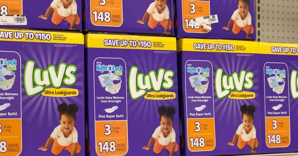 luvs diapers boxes stacked