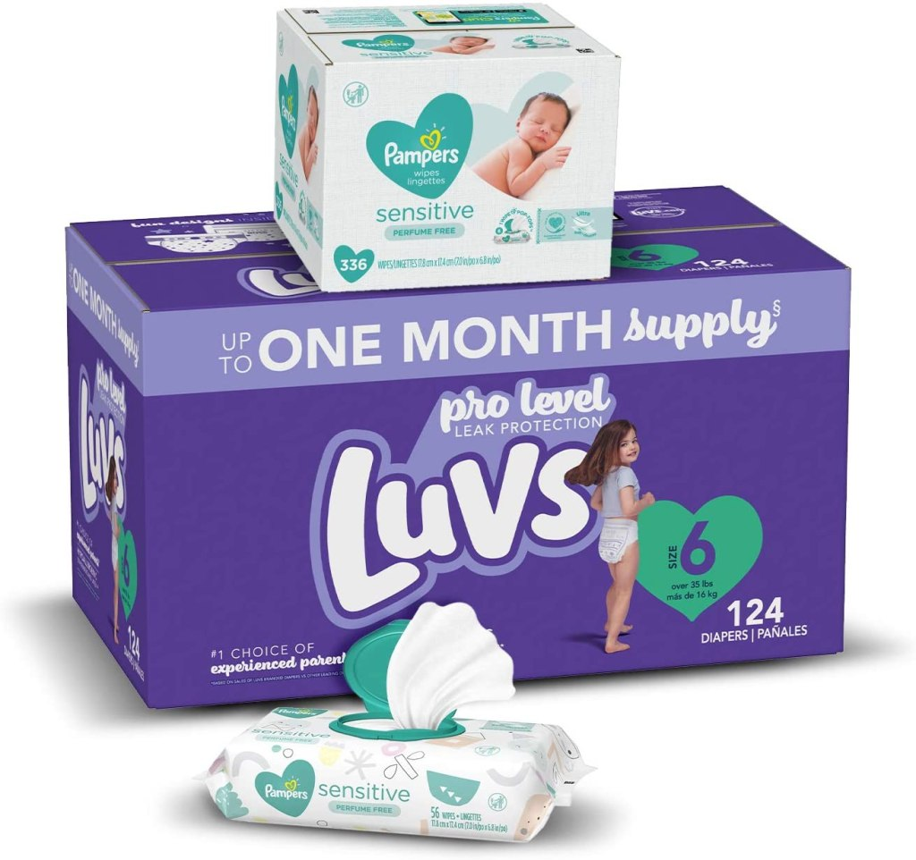 luvs + pampers boxes stacked