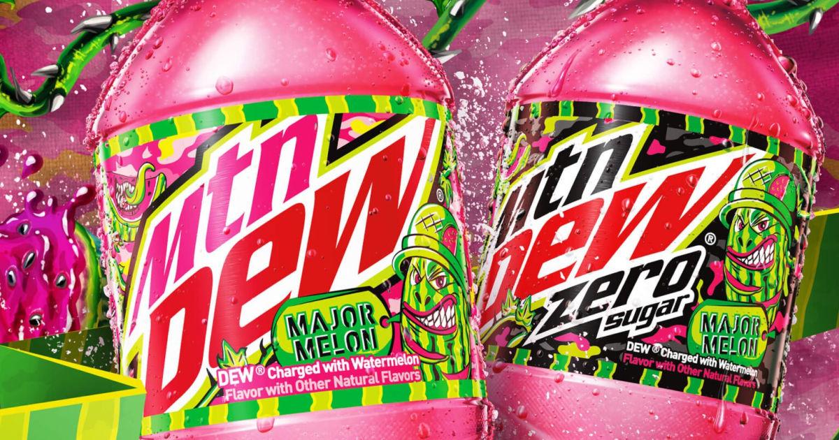 2 bottles of Mtn Dew Major Melon