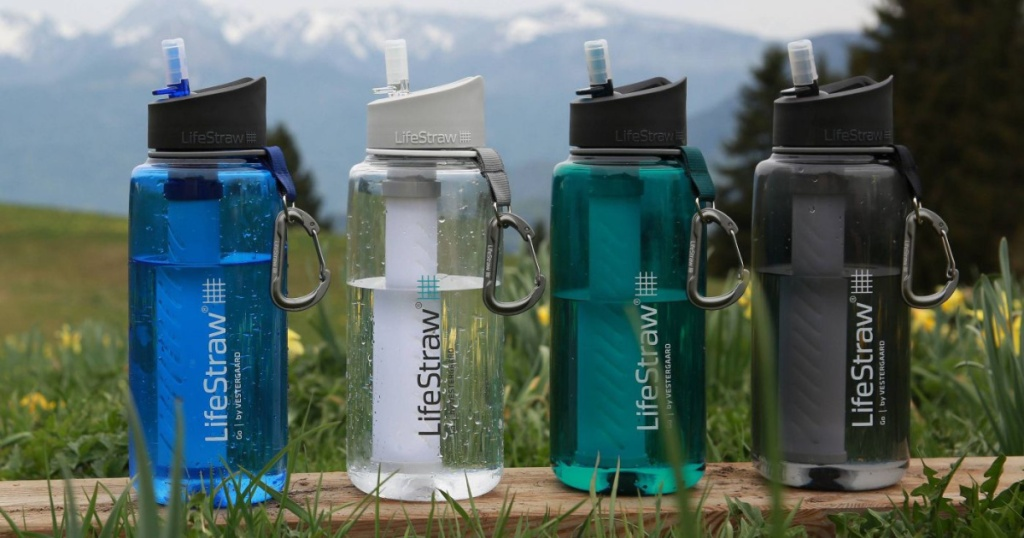 many lifestraw water bottles side by side