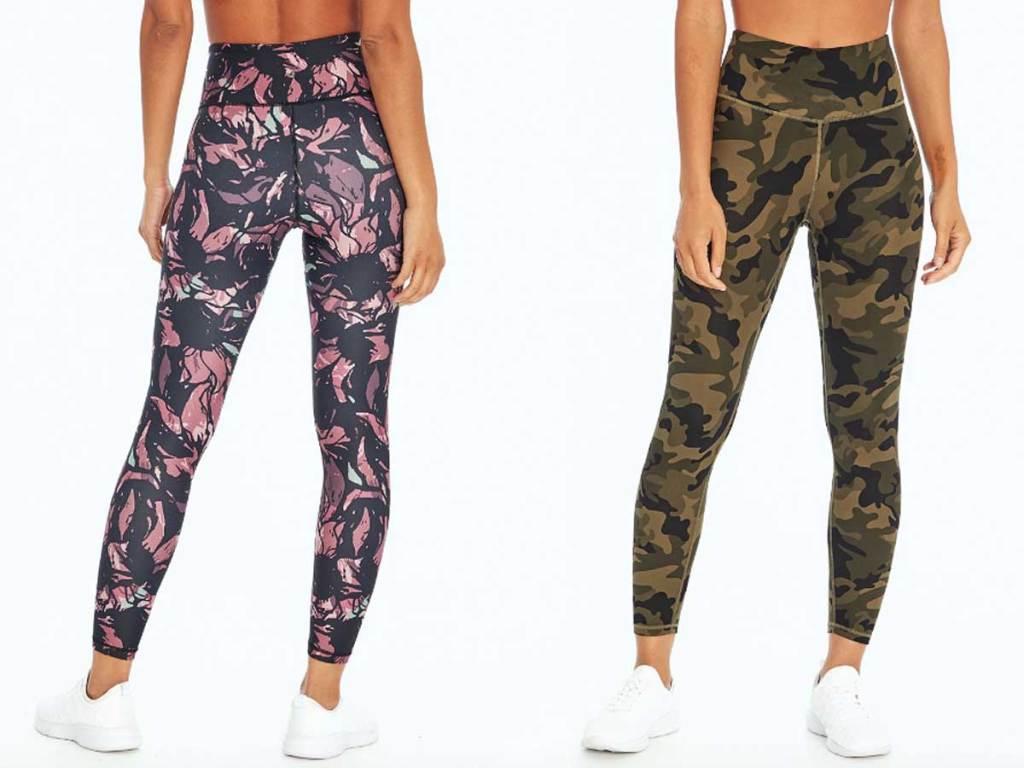 models wearing print leggings