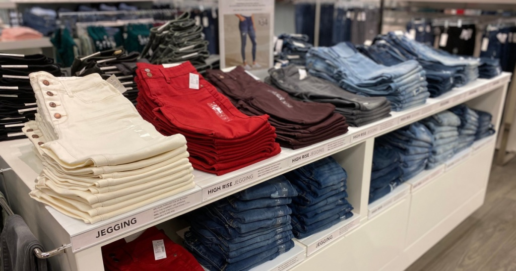 maurices jeans folded in store