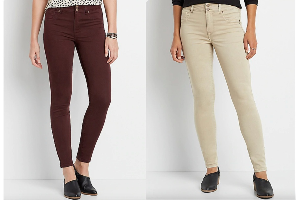 maurices khaki and burgundy jeggings on women