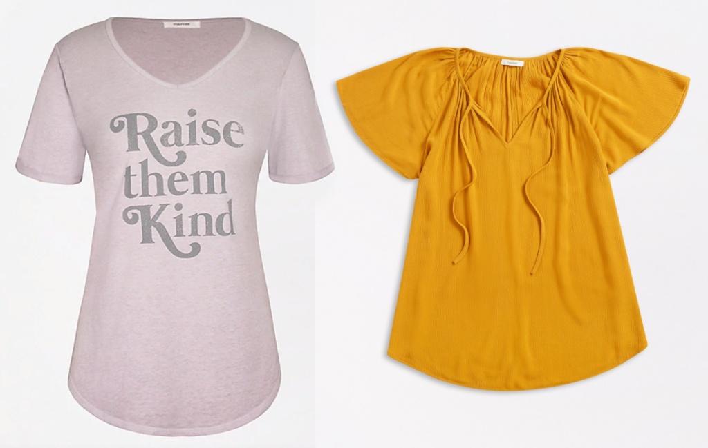 maurices womens tops tee shirt and yellow top