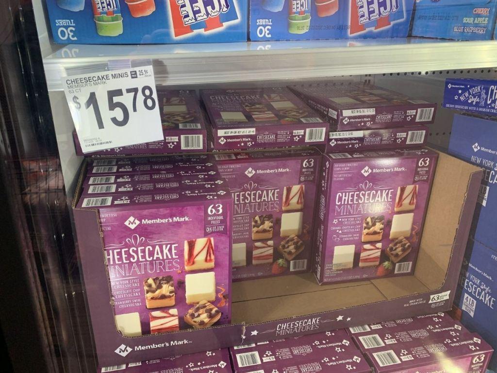 Member's Mark Cheesecake bites in store refrigerator