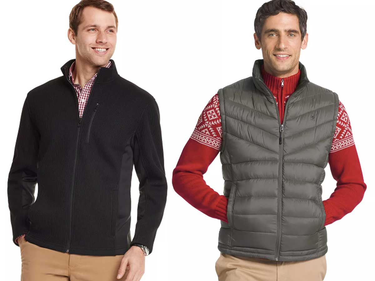 mens' jacket and vest stock images