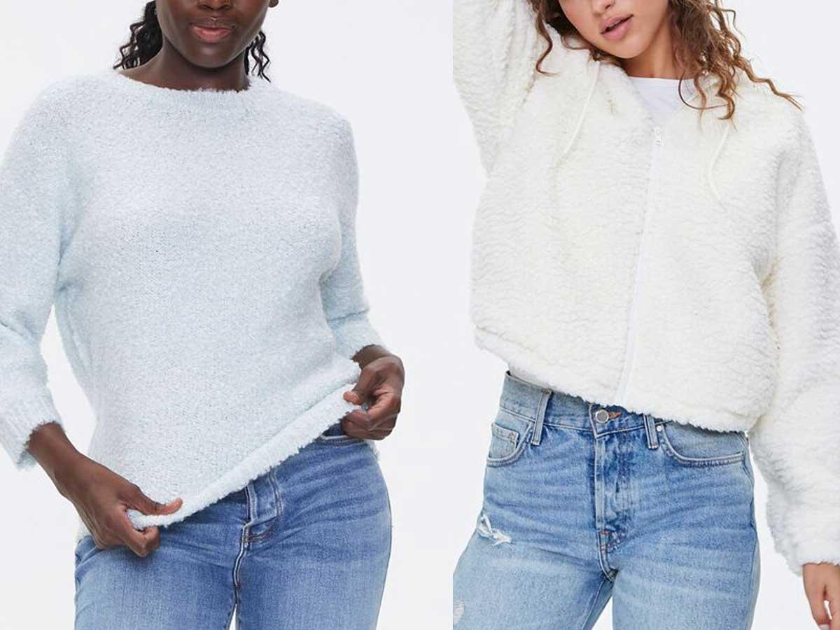 models wearing sweaters