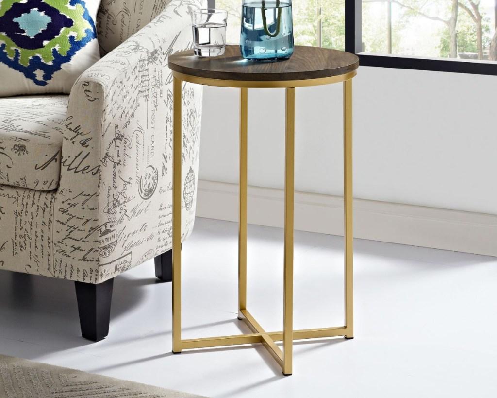 modern side table brown beside chair