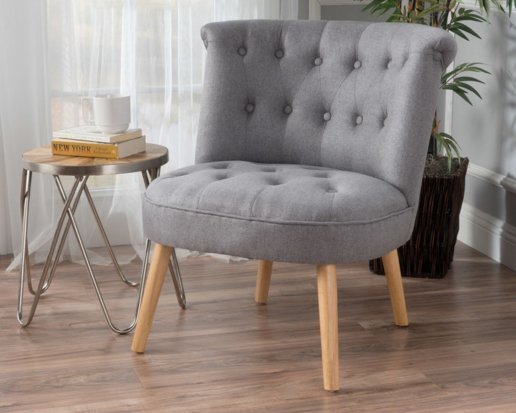 modern tufted chair grey