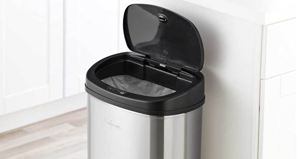motion sensor trash can in kitchen with lid open
