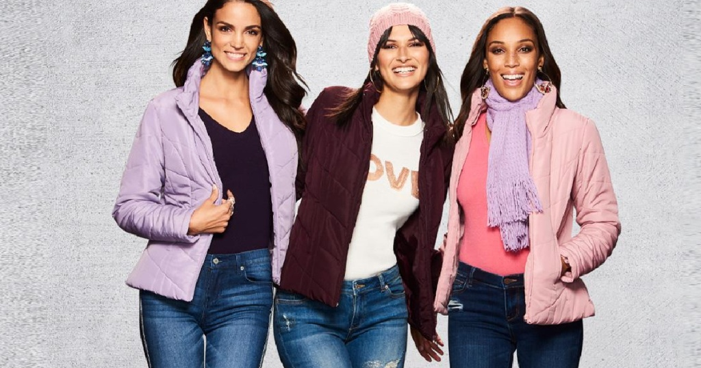 new york and company puffers three women in jackets side by side