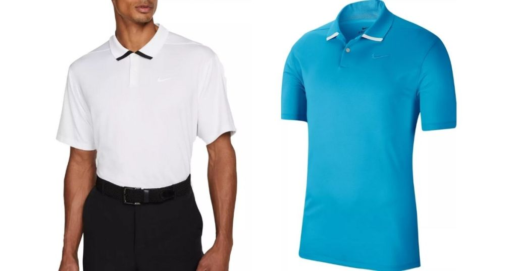 white and blue nike polo