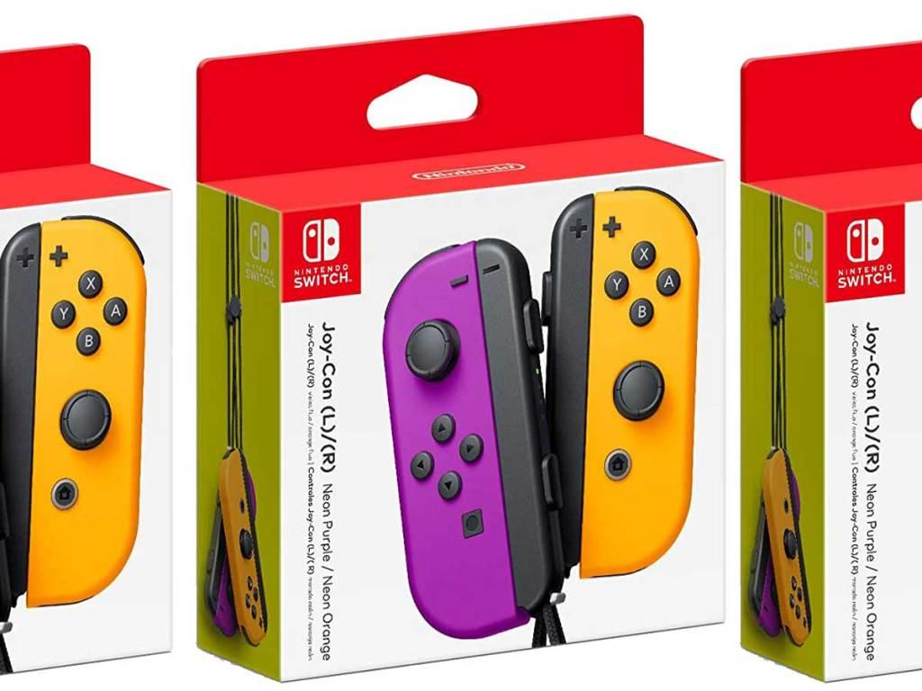 nintendo switch purple orange joy con