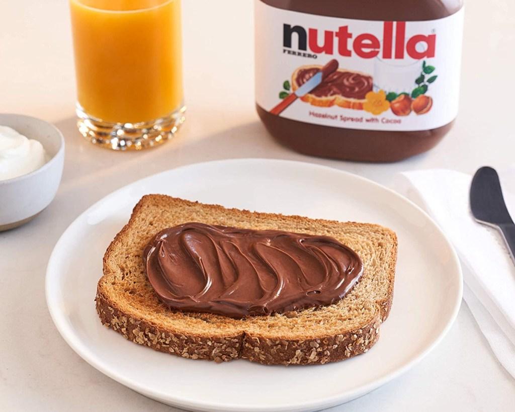 nutella on toast on plate for breakfast
