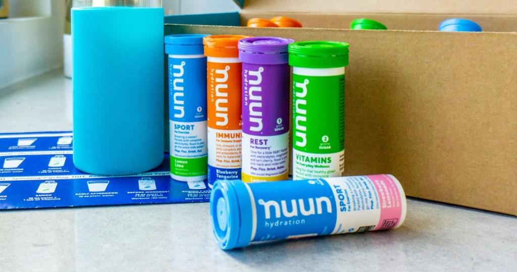 nuun electrolyte tablets many varieties near box