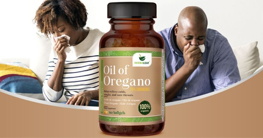 woman and man blowing their nose with bottle of oil of oregano on display