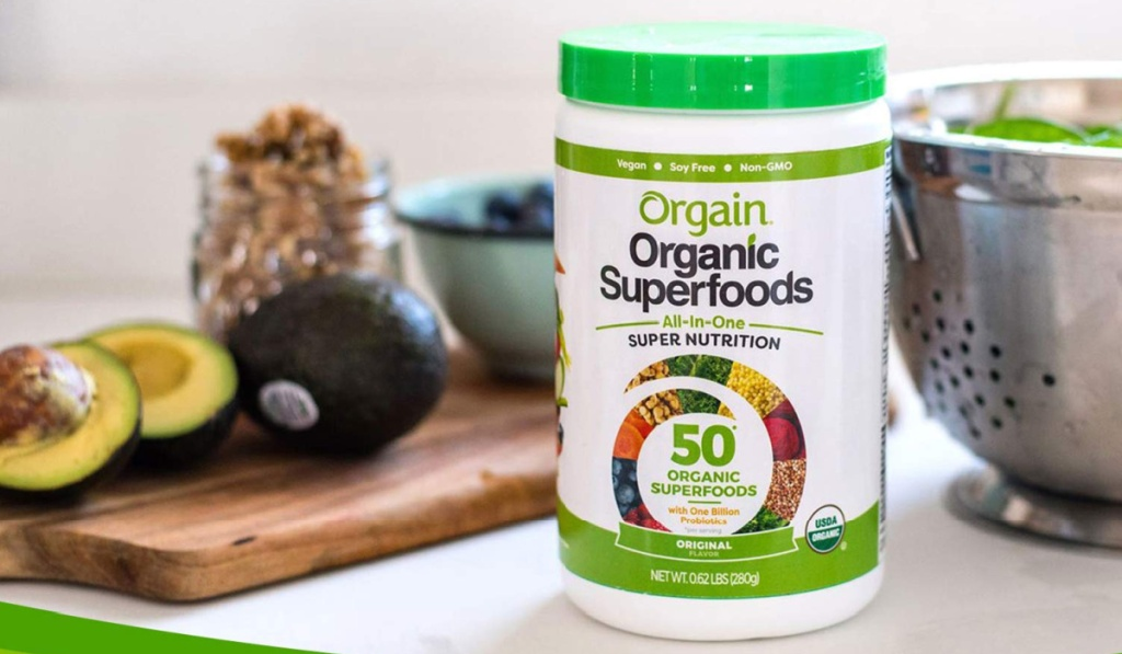orgain superfoods powder in tub