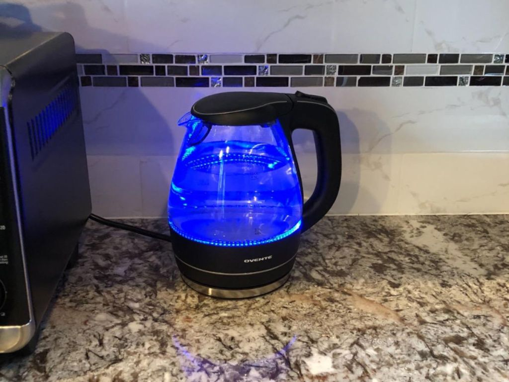 electric kettle with blue LED light