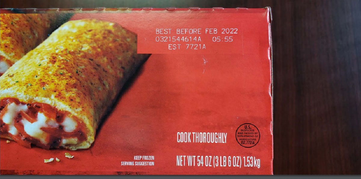 info stamped on Pepperoni Pizza Hot Pockets