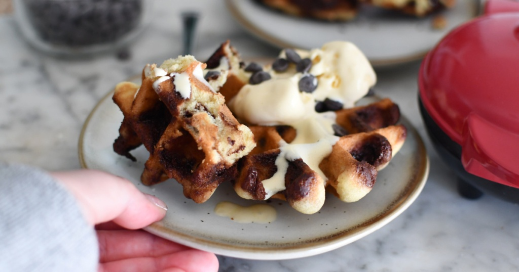 plate with chocolate chip cookie waffles