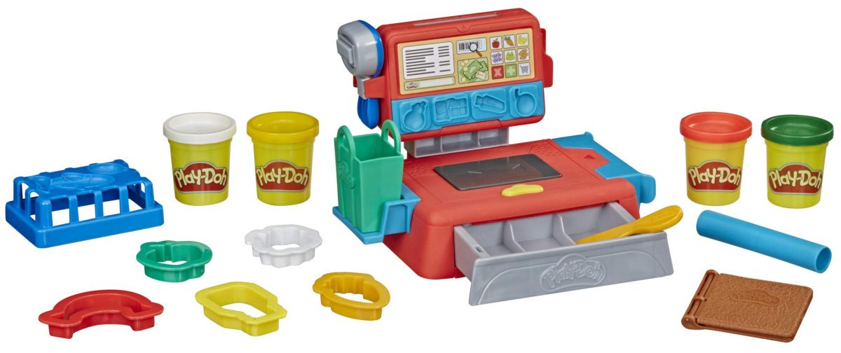 play doh cash register toy showing all accessories