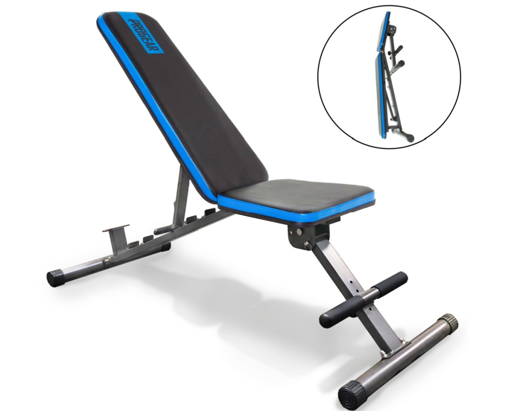 progrear adjustable weight bench shown folded