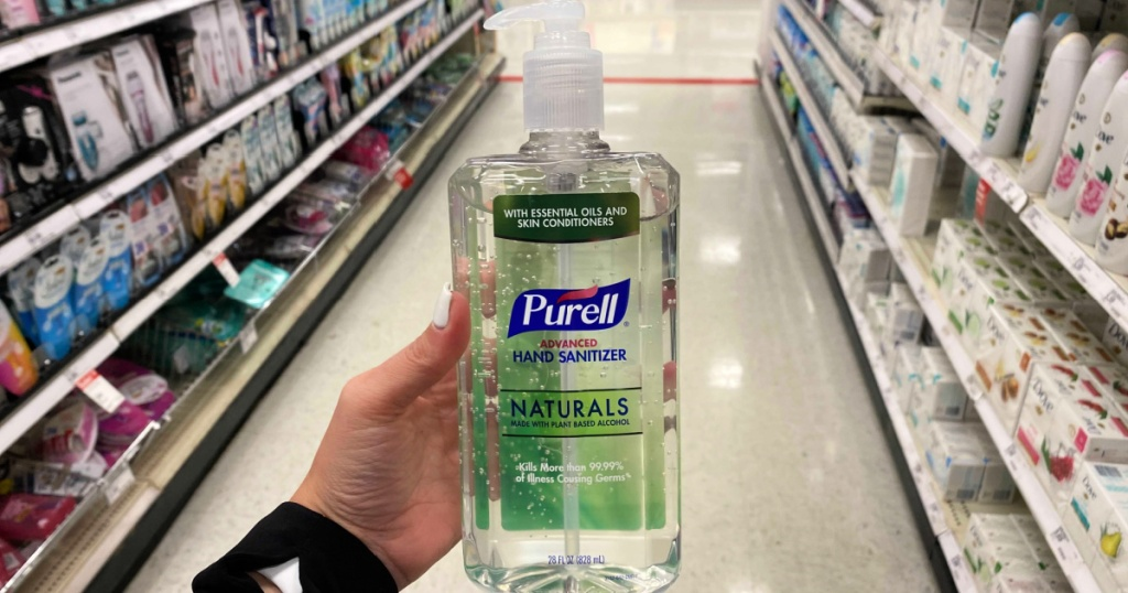 purell naturals hand sanitizer in hand at target