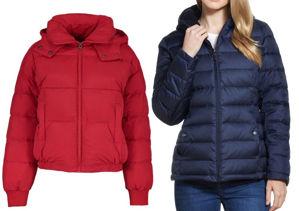 red women's coat and woman wearing a blue puffer coat