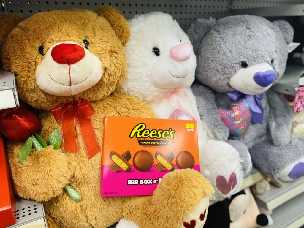 3 teddy bears with Reese's Valentine's Day candy