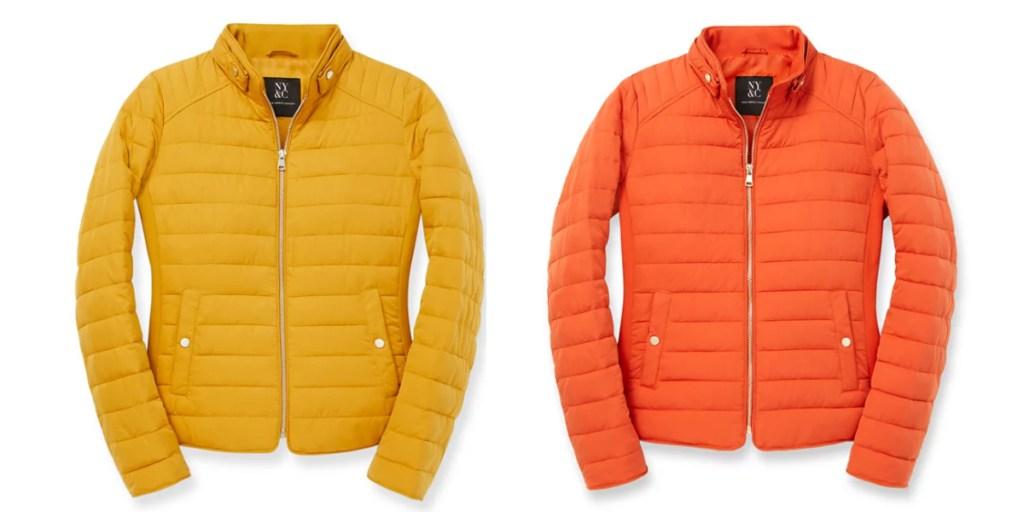 repreve puffer jacket yellow and orange