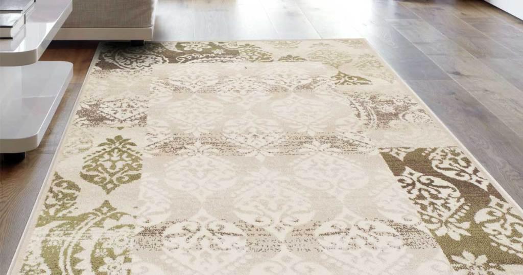 area rug on floor in living room