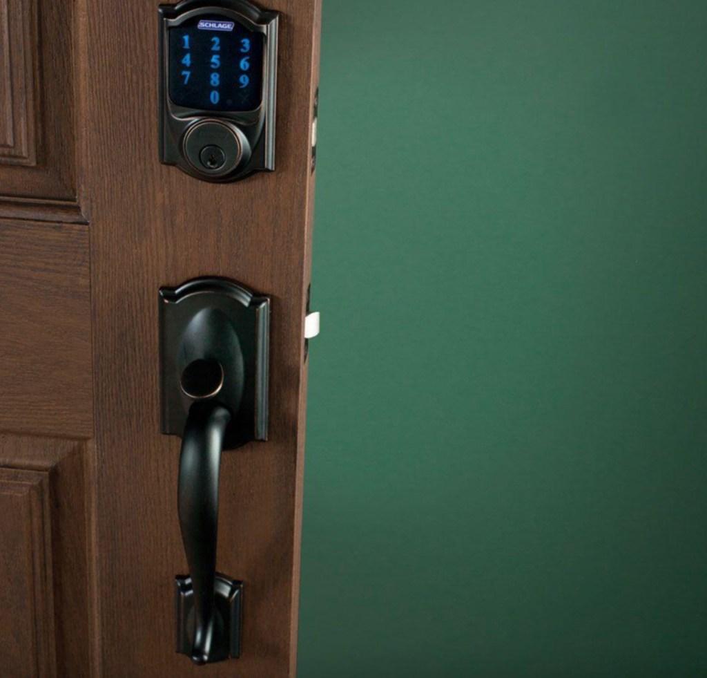schlage aged bronze lock on door
