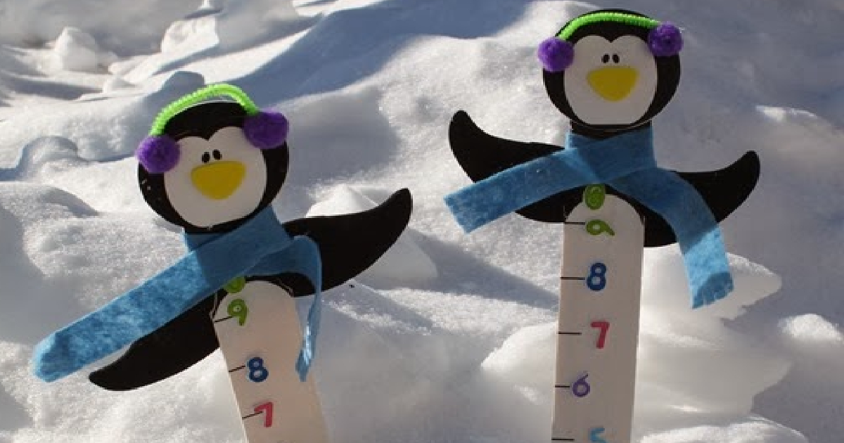 two penguins sticks measuring the snow