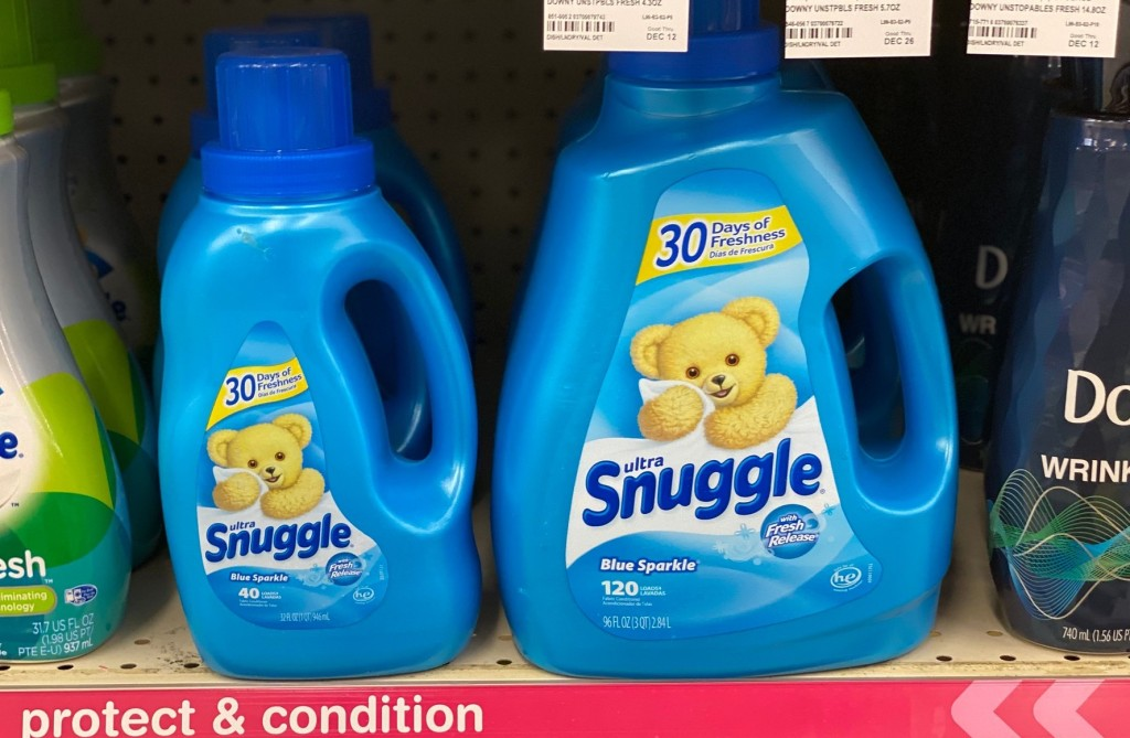 snuggle liquid detergent in store on shelf