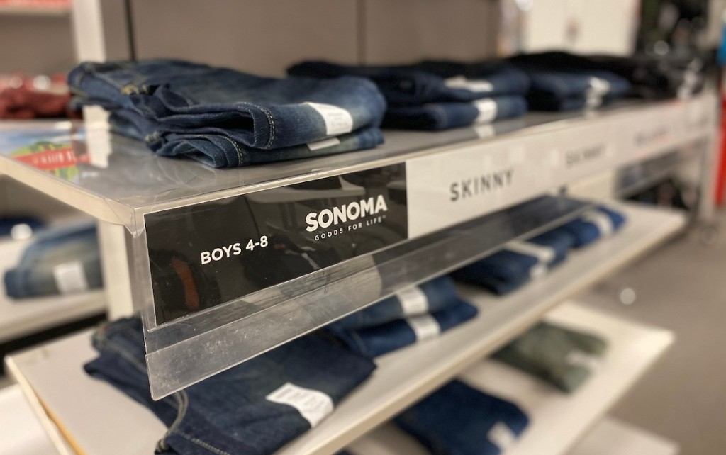 row of boys jeans on sonoma goods for life shelf