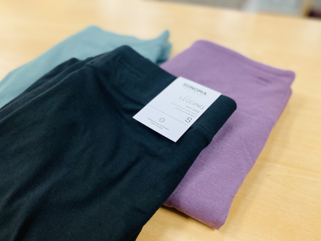 sonoma goods for life midrise leggings on table