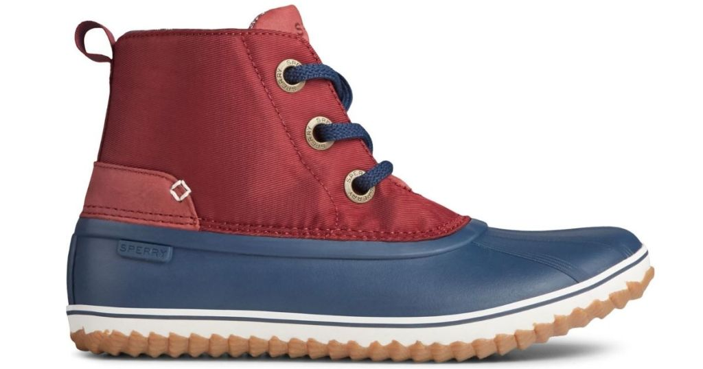 red and blue duck boots
