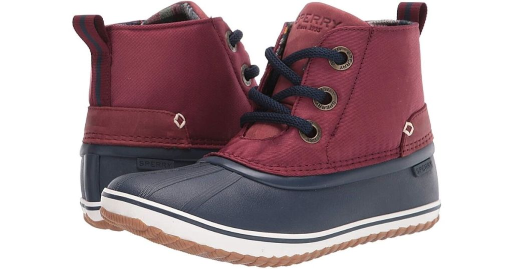 red and blue sperry duck boots
